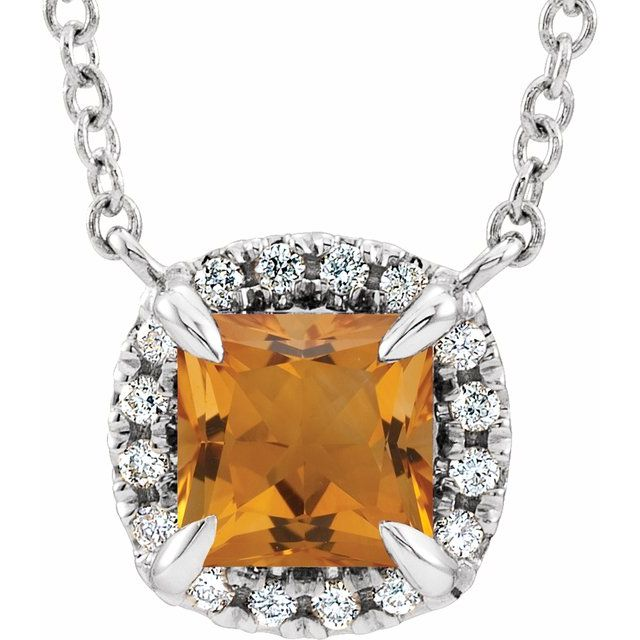 Golden Citrine Necklace in 14 Karat White Gold 4x4 mm Square Citrine & .05 Carat Diamond 16