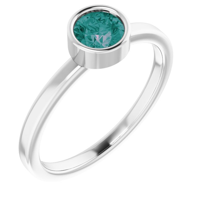 Chatham Created Alexandrite Ring in 14 Karat White Gold 5 mm Round Chatham Lab-Created Alexandrite Ring