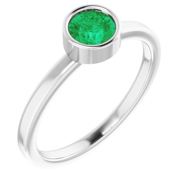 Genuine Chatham Created Emerald Ring in 14 Karat White Gold 5 mm Round Chatham Lab-Created Emerald Ring
