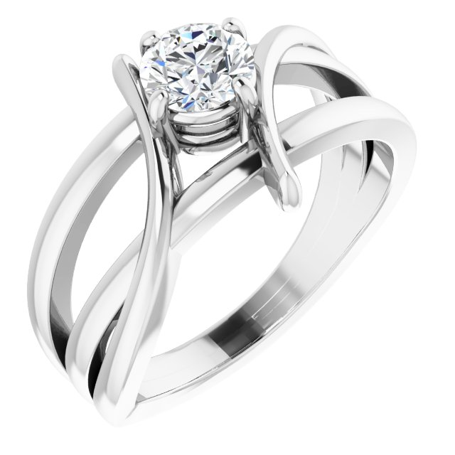 Created Moissanite Ring in 14 Karat White Gold 5 mm Round Forever One Moissanite Ring