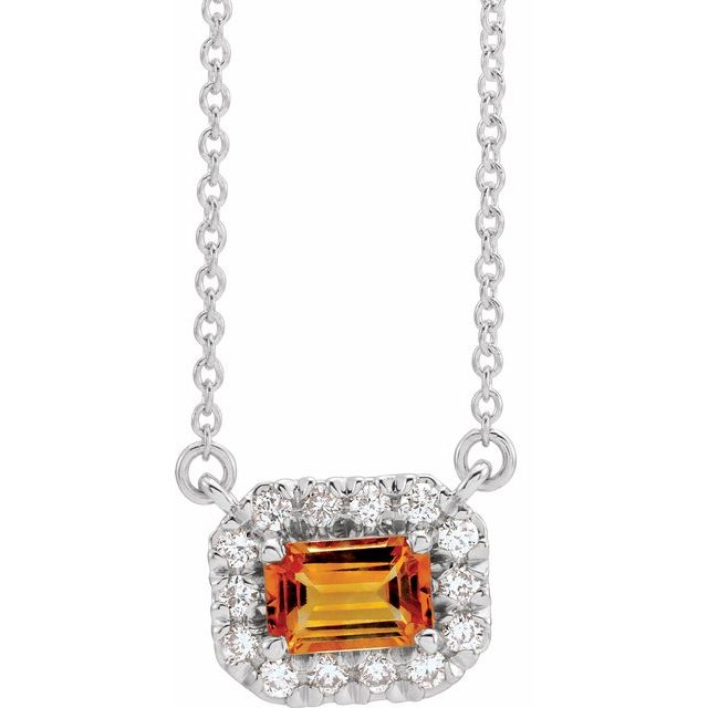 Golden Citrine Necklace in 14 Karat White Gold 5x3 mm Emerald Citrine & 1/8 Carat Diamond 16