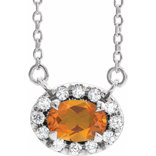 Golden Citrine Necklace in 14 Karat White Gold 5x3 mm Oval Citrine & .05 Carat Diamond 16