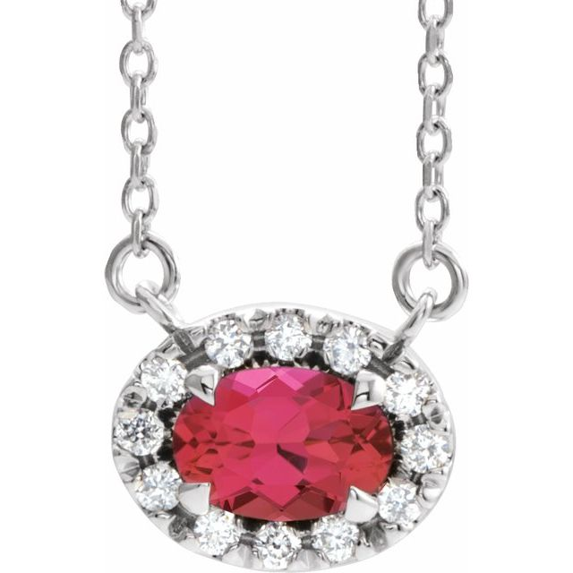 Chatham Created Ruby Necklace in 14 Karat White Gold 5x3 mm Oval Chatham Lab-Created Ruby & .05 Carat Diamond 16