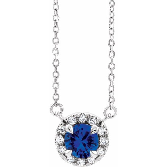 Genuine Sapphire Necklace in 14 Karat White Gold 6.5 mm Round Genuine Sapphire & 1/5 Carat Diamond 16