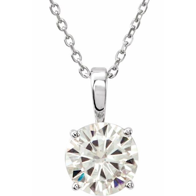 Created Moissanite Necklace in 14 Karat  Gold 6.5 mm Round Forever One Moissanite 18