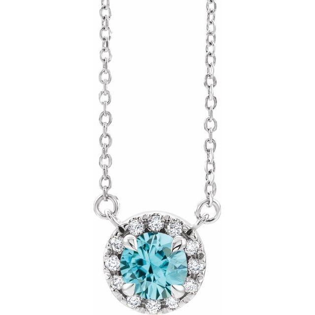 Genuine Zircon Necklace in 14 Karat White Gold 6 mm Round Genuine Zircon & 1/5 Carat Diamond 18