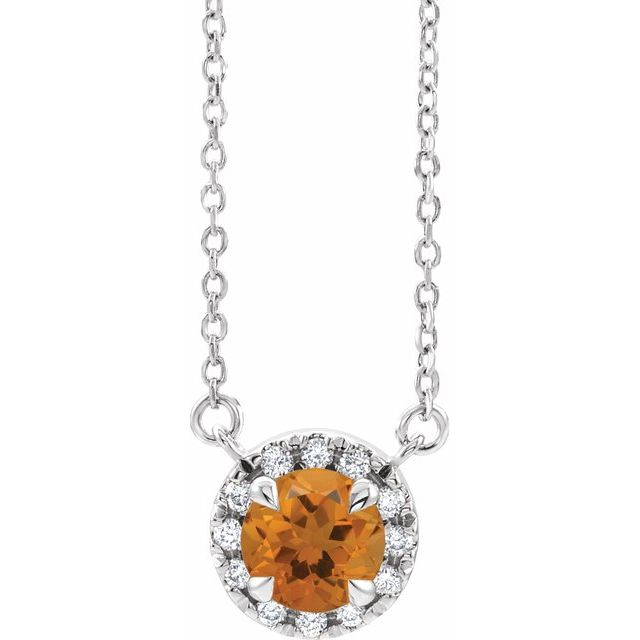 Golden Citrine Necklace in 14 Karat White Gold 6 mm Round Citrine & 1/5 Carat Diamond 16