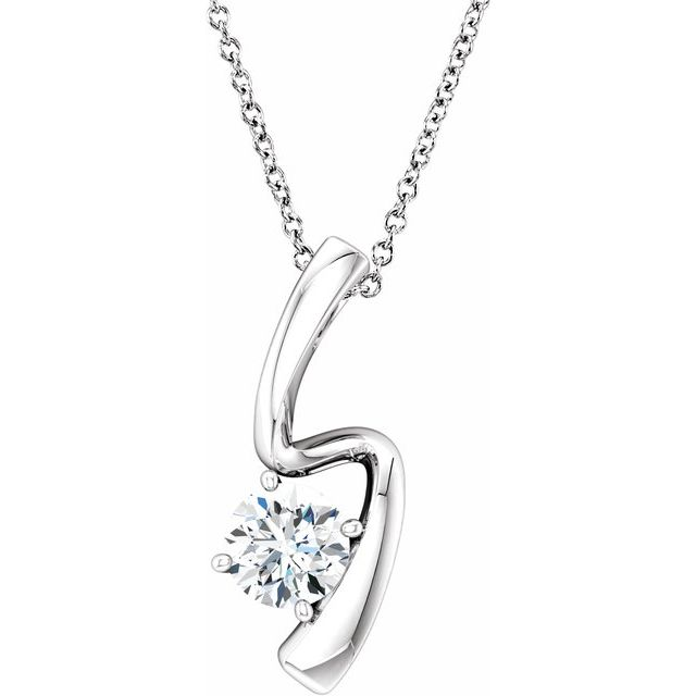 Created Moissanite Necklace in 14 Karat  Gold 6 mm Round Forever One™ Moissanite 16-18