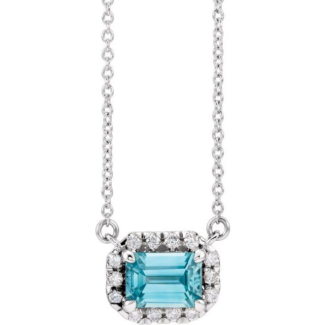 Genuine Zircon Necklace in 14 Karat White Gold 6x4 mm Emerald Genuine Zircon & 1/5 Carat Diamond 18