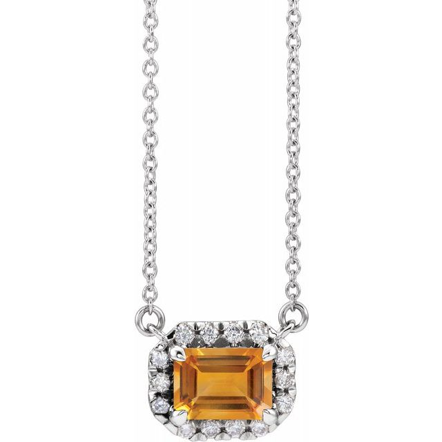 Golden Citrine Necklace in 14 Karat White Gold 6x4 mm Emerald Citrine & 1/5 Carat Diamond 16