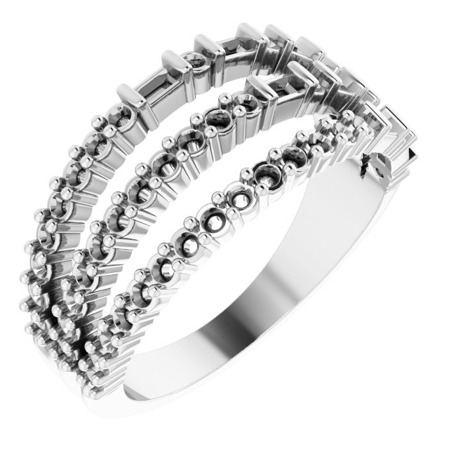 White Diamond Ring in 14 Karat White Gold 7/8 Carat Diamond Stacked Ring