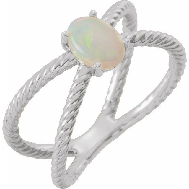 Natural Opal Ring in 14 Karat Natural Gold 7x5 mm Opal Criss-Cross Rope Ring