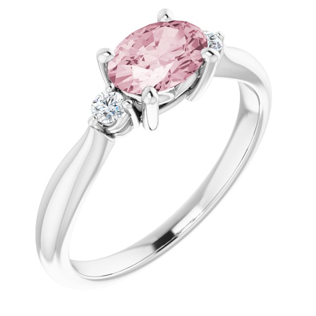 Pink Morganite Ring in 14 Karat White Gold 7x5 mm Oval Morganite & .08 Carat Diamond Ring