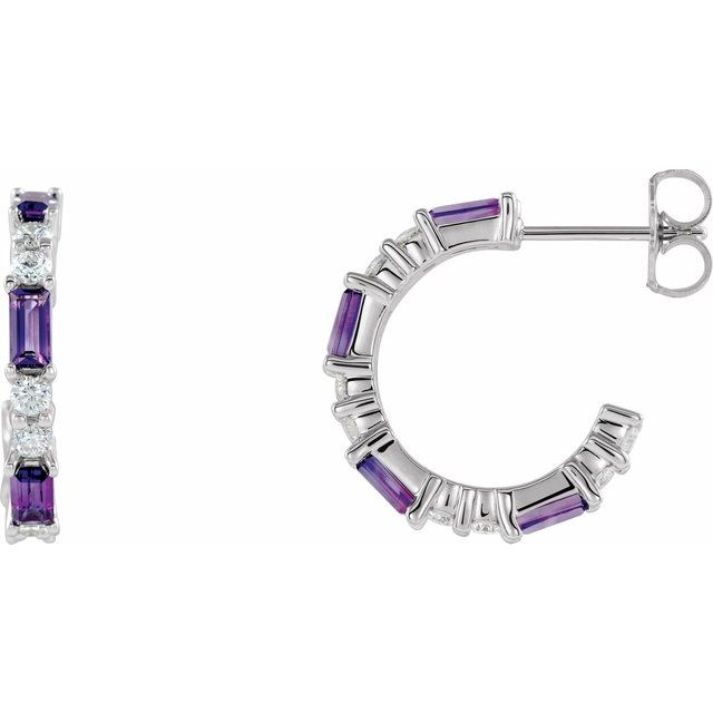 Genuine Amethyst Earrings in 14 Karat White Gold Amethyst & 1/2 Carat Diamond Earrings