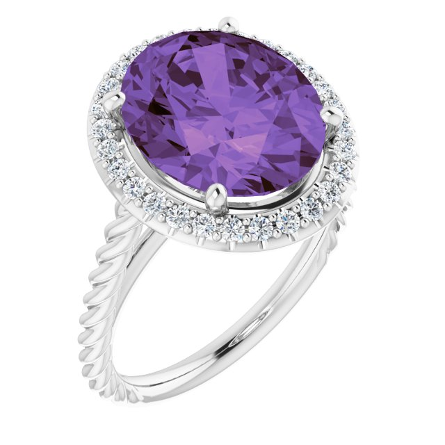 Genuine Amethyst Ring in 14 Karat White Gold Amethyst & 1/4 Carat Diamond Ring
