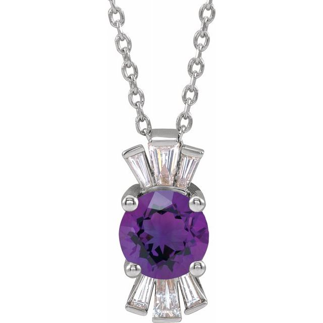 Genuine Amethyst Necklace in 14 Karat White Gold Amethyst & 1/6 Carat Diamond 16-18