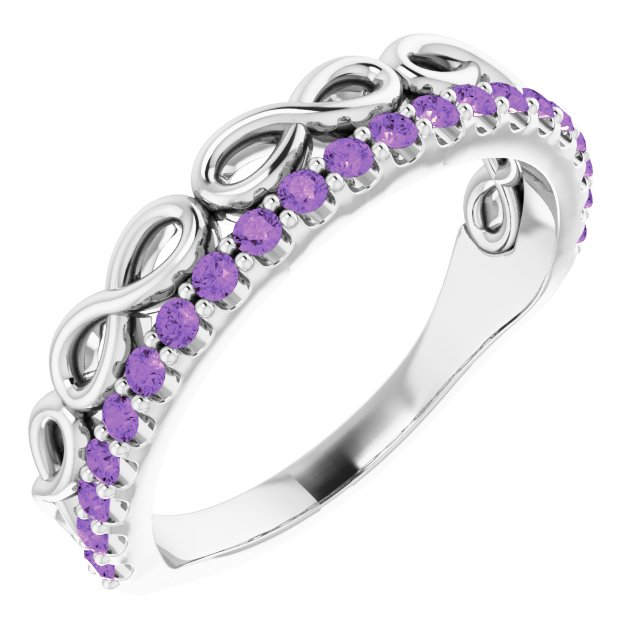 Genuine Amethyst Ring in 14 Karat White Gold Amethyst Infinity-Inspired Stackable Ring