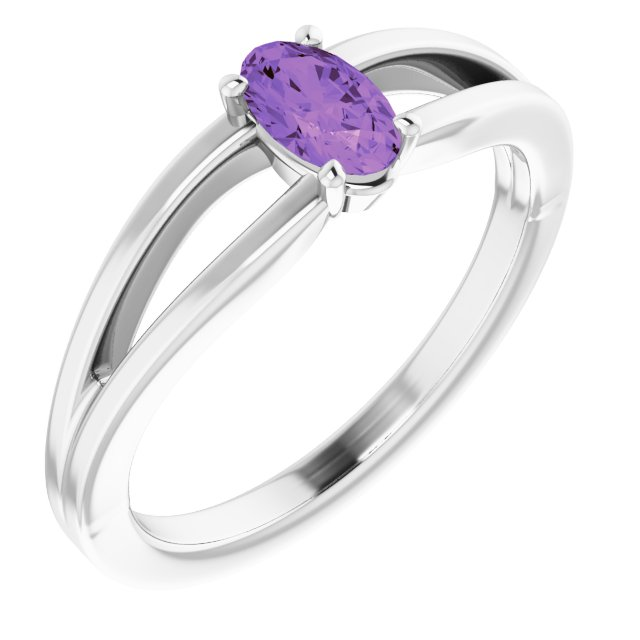 Genuine Amethyst Ring in 14 Karat White Gold Amethyst Solitaire Youth Ring