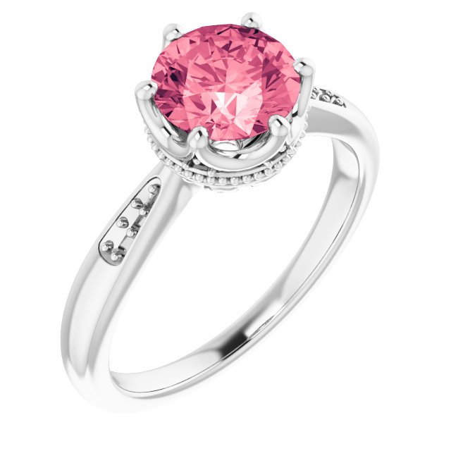 Genuine Topaz Ring in 14 Karat White Gold Baby Pink Topaz & .06 Carat Diamond Ring