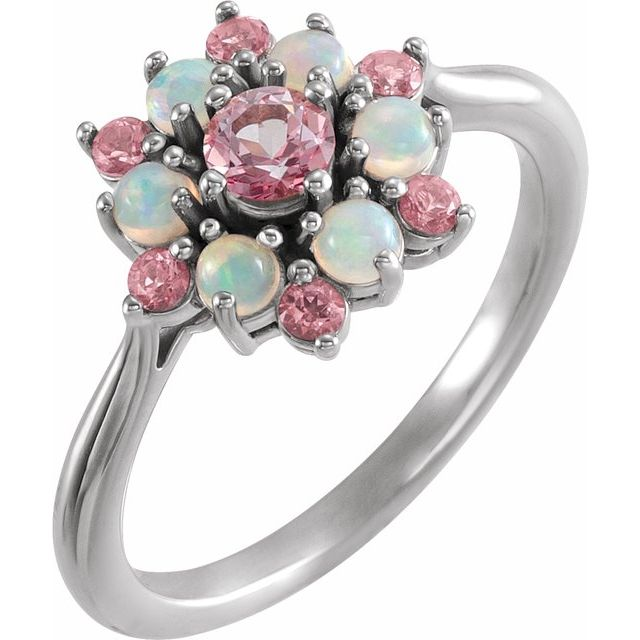 Genuine Topaz Ring in 14 Karat White Gold Baby Pink Topaz & Ethiopian Opal Floral-Inspired Ring