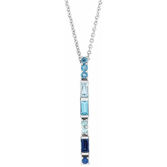 Multi-Gemstone Necklace in 14 Karat White Gold Genuine Multi-Gemstone Bar 16-18