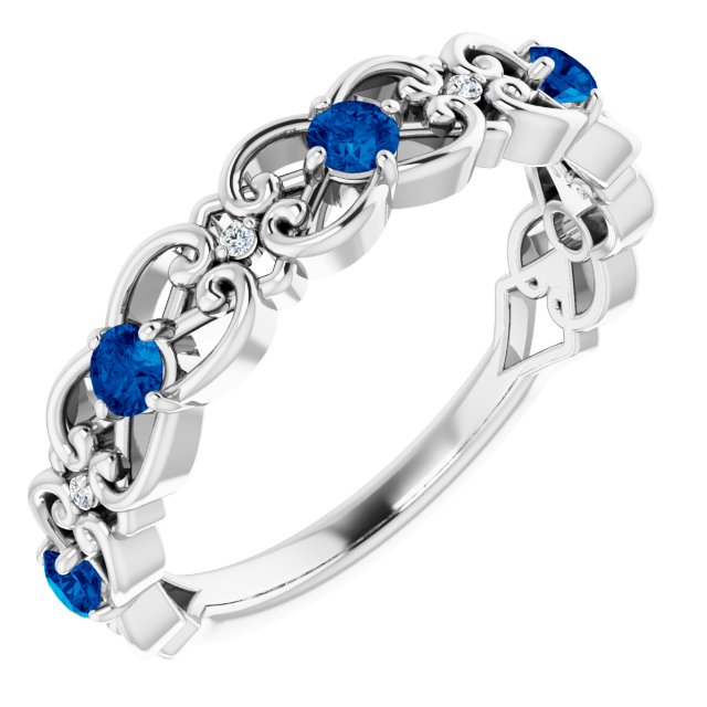 Genuine Sapphire Ring in 14 Karat White Gold Genuine Sapphire & .02 Carat Diamond Vintage-Inspired Scroll Ring