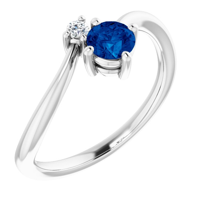 Genuine Sapphire Ring in 14 Karat White Gold Genuine Sapphire & .025 Carat Diamond Ring
