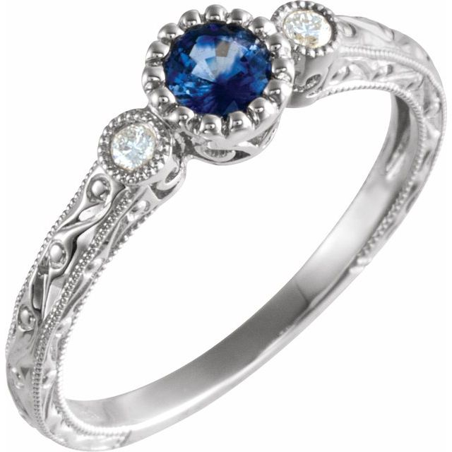 Genuine Sapphire Ring in 14 Karat White Gold Genuine Sapphire & .04 Carat Diamond Ring