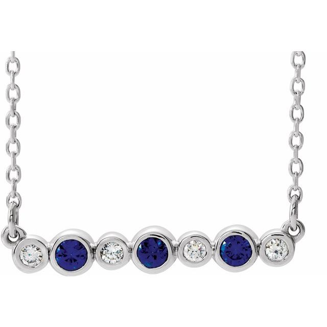 Genuine Sapphire Necklace in 14 Karat White Gold Genuine Sapphire & .08 Carat Diamond Bezel-Set Bar 16-18