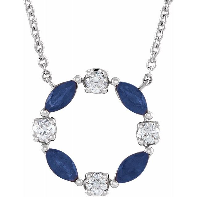 Genuine Sapphire Necklace in 14 Karat White Gold Genuine Sapphire & 1/10 Carat Diamond Circle 18