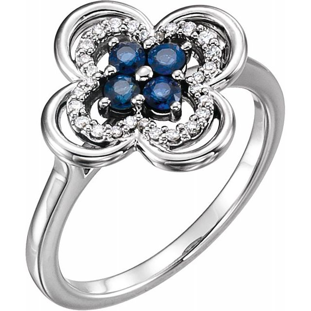 Genuine Sapphire Ring in 14 Karat White Gold Genuine Sapphire & 1/10 Carat Diamond Ring