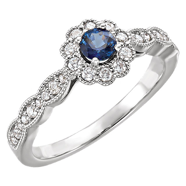 Genuine 14 Karat White Gold Blue Sapphire & 0.33 Carat Diamond Ring