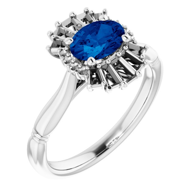 Genuine Sapphire Ring in 14 Karat White Gold Genuine Sapphire & 1/4 Carat Diamond Ring