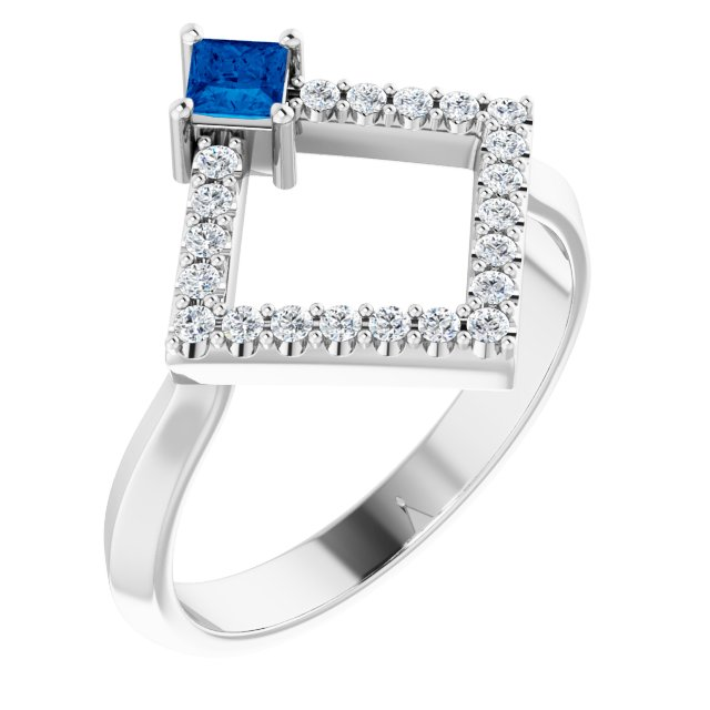 Genuine Sapphire Ring in 14 Karat White Gold Genuine Sapphire & 1/5 Carat Diamond Geometric Ring