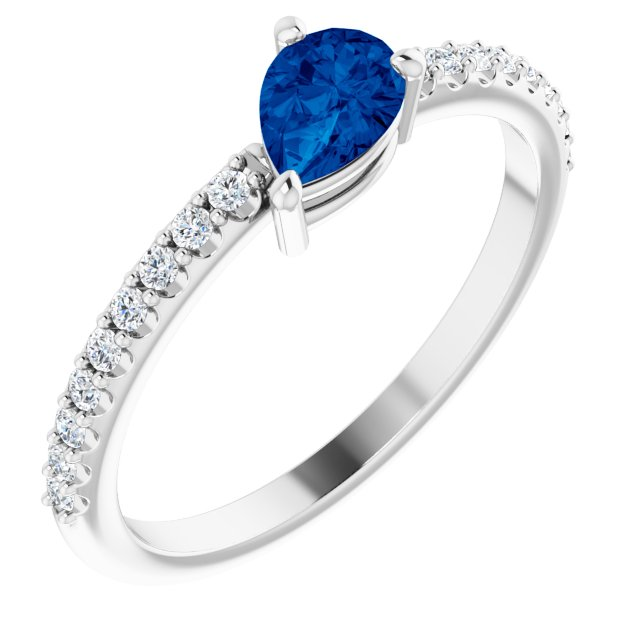 Genuine Sapphire Ring in 14 Karat White Gold Genuine Sapphire & 1/6 Carat Diamond Ring