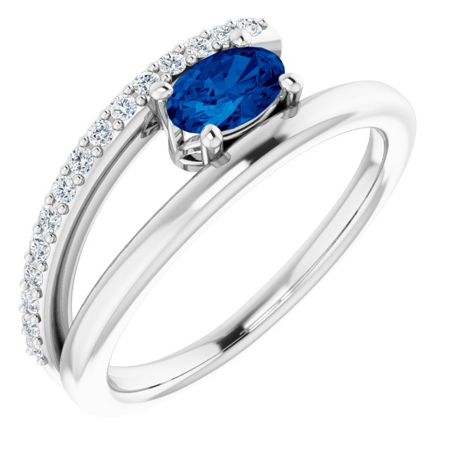 Genuine Sapphire Ring in 14 Karat White Gold Genuine Sapphire & 1/8 Carat Diamond Ring