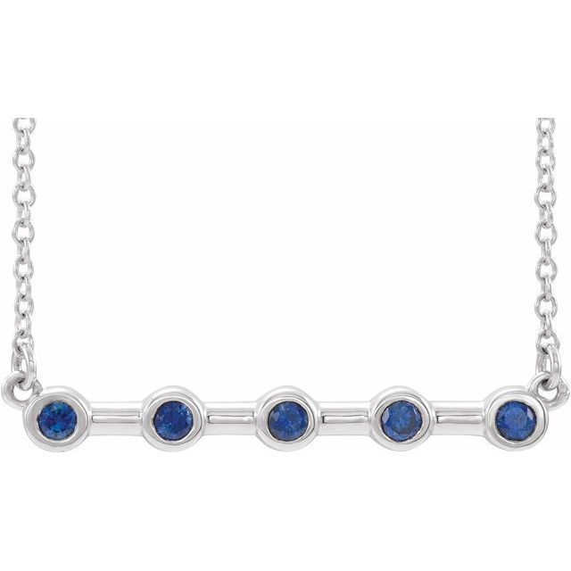 Genuine Sapphire Necklace in 14 Karat White Gold Genuine Sapphire Bezel-Set Bar 18