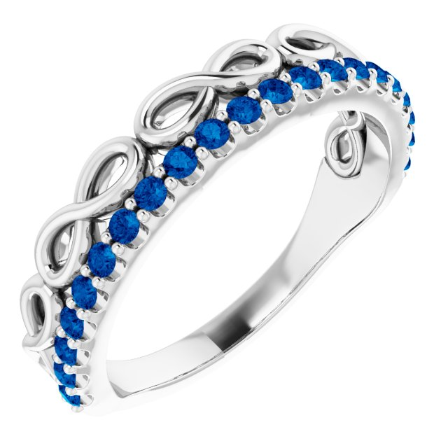 Genuine Sapphire Ring in 14 Karat White Gold Genuine Sapphire Infinity-Inspired Stackable Ring
