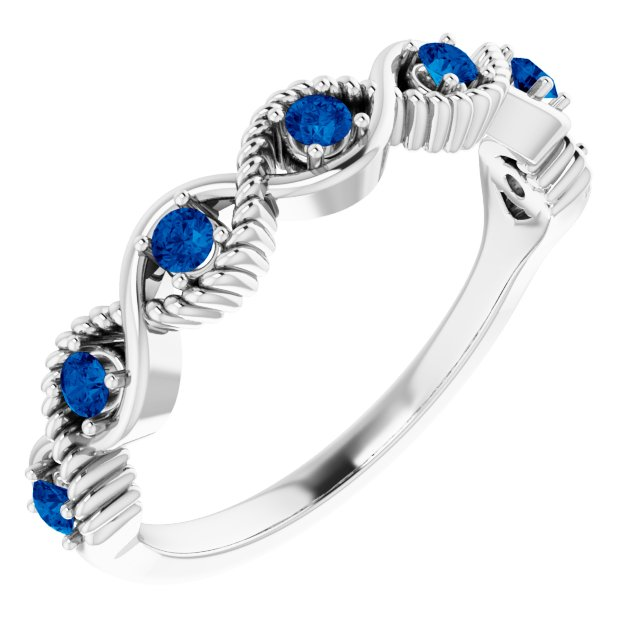 Genuine Sapphire Ring in 14 Karat White Gold Genuine Sapphire Stackable Ring