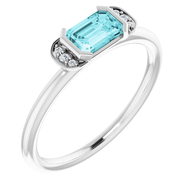 Genuine Zircon Ring in 14 Karat White Gold Genuine Zircon & .02 Carat Diamond Stackable Ring