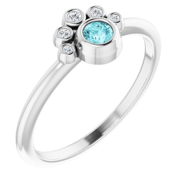 Genuine Zircon Ring in 14 Karat White Gold Genuine Zircon & .04 Carat Diamond Ring