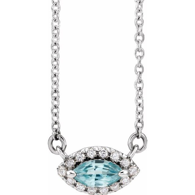 Genuine Zircon Necklace in 14 Karat White Gold Genuine Zircon & .05 Carat Diamond Halo-Style 16