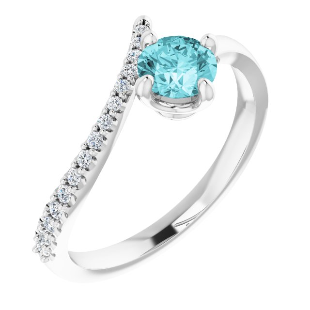 Genuine Zircon Ring in 14 Karat White Gold Genuine Zircon & 1/10 Carat Diamond Bypass Ring