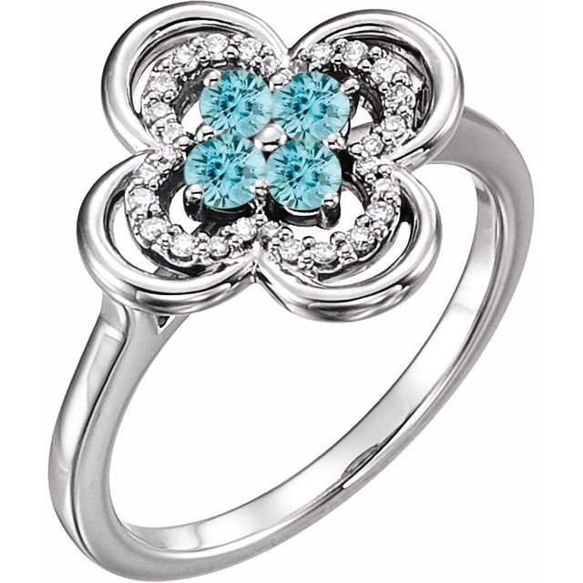Genuine Zircon Ring in 14 Karat White Gold Genuine Zircon & 1/10 Carat Diamond Ring