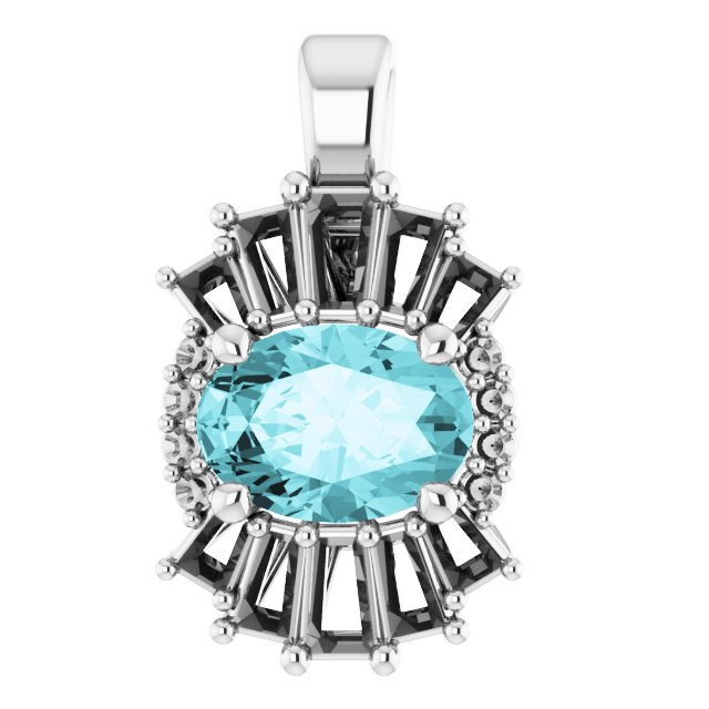 Genuine Zircon Pendant in 14 Karat White Gold Genuine Zircon & 1/3 Carat Diamond Pendant