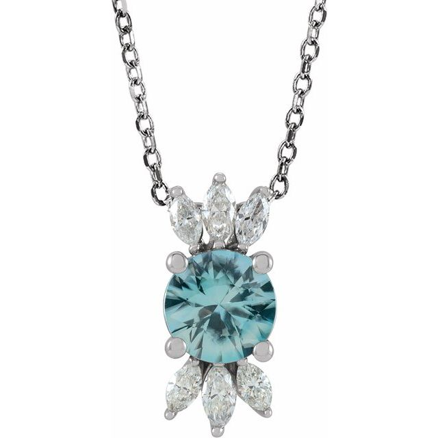 Genuine Zircon Necklace in 14 Karat White Gold Genuine Zircon & 1/4 Carat Diamond 16-18