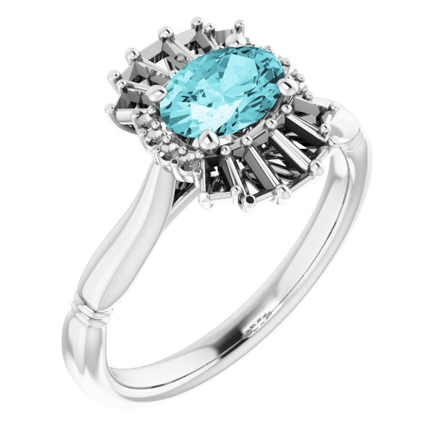 Genuine Zircon Ring in 14 Karat White Gold Genuine Zircon & 1/4 Carat Diamond Ring