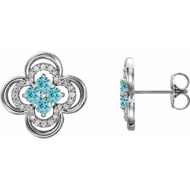 Genuine Zircon Earrings in 14 Karat White Gold Genuine Zircon & 1/5 Carat Diamond Clover Earrings
