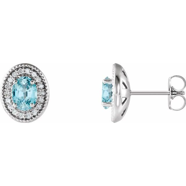 Genuine Zircon Earrings in 14 Karat White Gold Genuine Zircon & 1/5 Carat Diamond Halo-Style Earrings