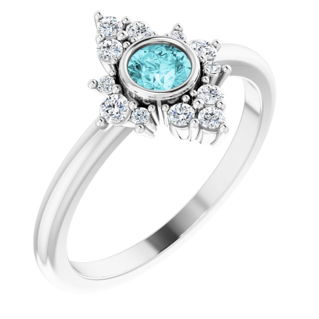 Genuine Zircon Ring in 14 Karat White Gold Genuine Zircon & 1/5 Carat Diamond Ring